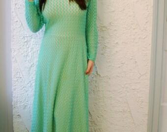 Vintage 1970s Crochet Mermaid Maxi Dress  sz S/M