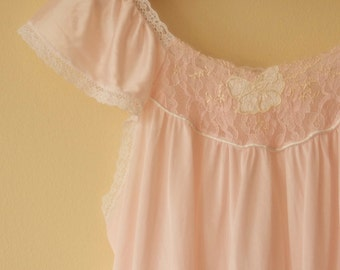 Vintage Pink Frosting Flutter Sleeve Nighty - S/M - Valentines Day
