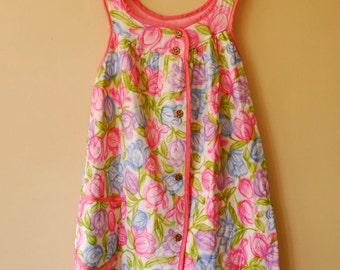 Vintage 1960s Floral Lounge Dress / House Coat - Large