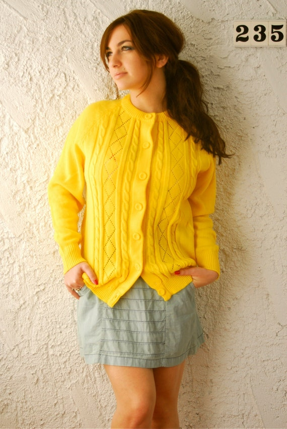 1950s Lemon Yellow Knit Cardigan Sweater- sz Large