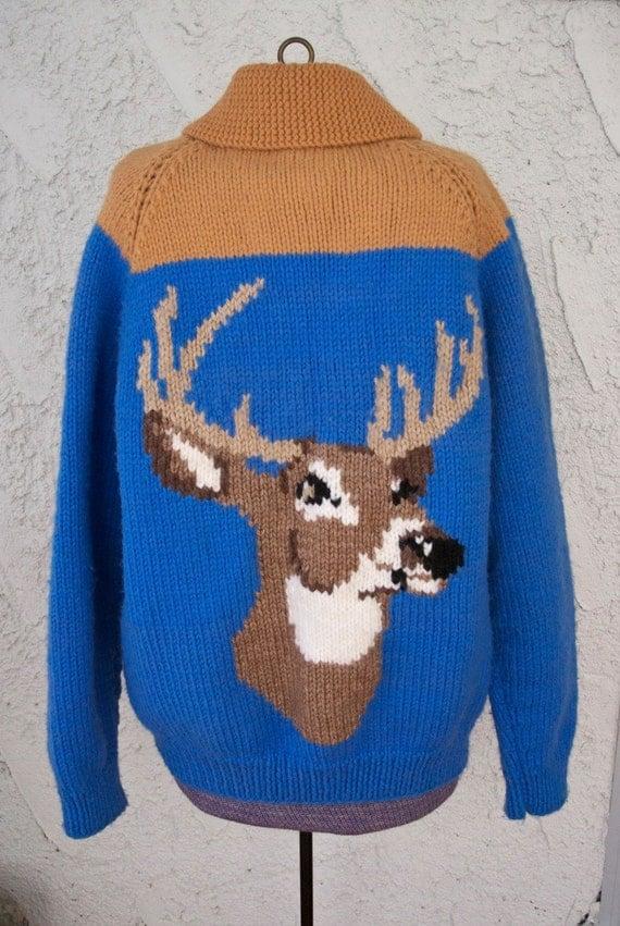 1970s Deer Head Slouchy Cabin Sweater - Campy Cardigan - Handmade Vintage
