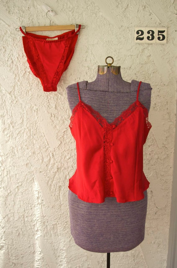 Vintage Red Satin Cami and Panty Set - Victoria's Secret 2pc - Large