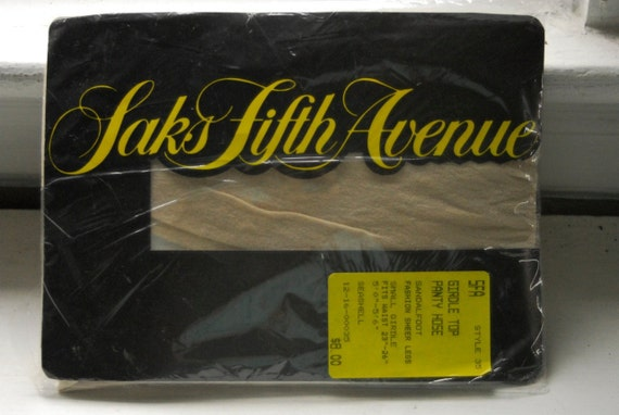 REDUCED - Vintage 1980s Saks Fifth Avenue Nude Girdle Top Panty Hose Stockings - Small