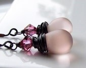 Reserved. Frosted Powder Pink Czech Glass Earrings Wire Wrapped in Oxidized Sterling Silver