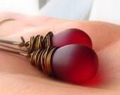 Dark Garnet Frosted Glass Earrings, Antiqued Brass Elongated Earwire, Wire Wrapped Jewel Tone Teardrop Earrings