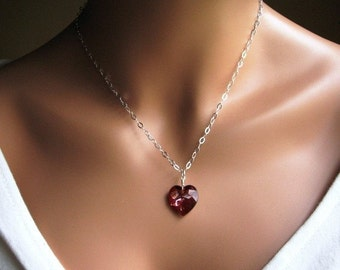 Swarovski Crystal Heart Pendant, Magma Red Heart, Heart Necklace in Sterling Silver, Gifts for Her, Stocking Stuffer, Swarovski Crystal