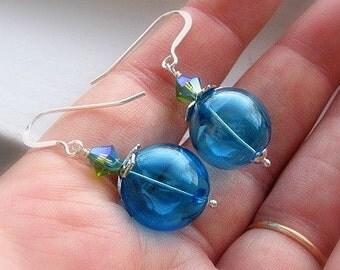 Blue Glass Earrings, Cerulean, Globe Earrings, Turquoise,  Bridesmaid Earrings, Something Blue Earrings, Sterling Silver, Wire Wrapped