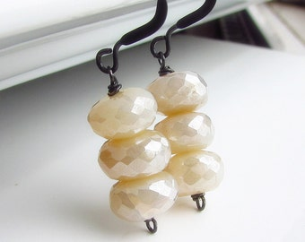 Vanilla Cream Chalcedony Earrings, Ivory Stone Earrings, Cream, Stacked Stone Earrings, Oxidized Sterling Silver Wire Wrapped, Cream Soda