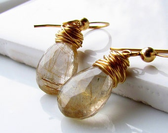 Golden Rutile Quartz Earrings, Gold Rutilated Quartz, Tourmalated Quartz, Gold Stone Earrings, Gemstone Earrings, Gold Filled, Gifts for Her