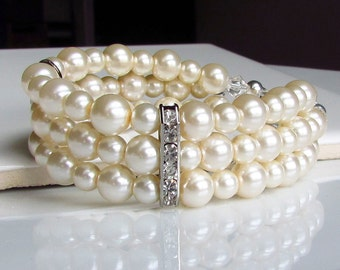 Multistrand Ivory Pearl Bracelet, Three Strand Pearl Cuff, Pearl Bridal Jewelry, Pearl Bracelet, Wedding Jewelry for Brides and Bridesmaids