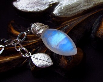Rainbow Moonstone Lariat, Silver Leaf Pendant, AAA Blue Fire Marquis Gemstone, Sterling Silver Wire Wrapped Jewelry
