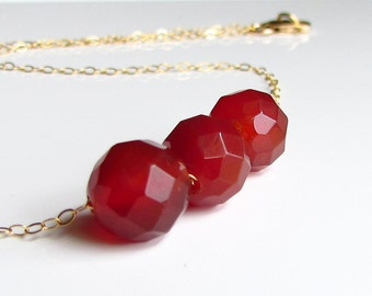 Carnelian Necklace, Fire Orange Stone, Delicate Bridal Jewelry, Orange Wedding, Fall, Bridesmaids Necklace, Carnelian 14Kt Gold Filled