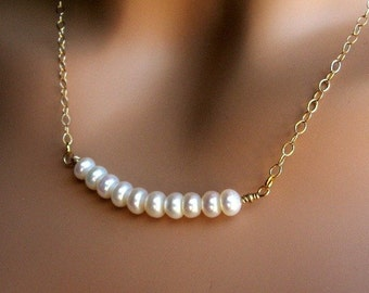 Cream White Freshwater Button Pearl Necklace, Wire Wrapped in 14Kt Gold-Filled, Classic Pearl Bridal Jewelry