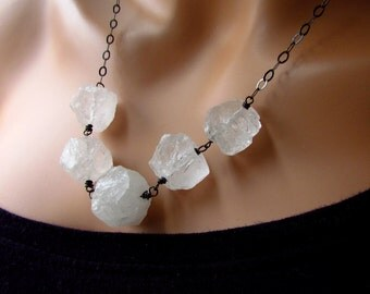 Rough Quartz Crystal Necklace, Natural Quartz Hammered Stones Wrapped in Oxidized Sterling Silver Wire Wrapped