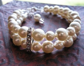 Creamrose Light Swarovski Pearl Double Strand Bracelet, Adjustable Cuff Style, Sterling Silver