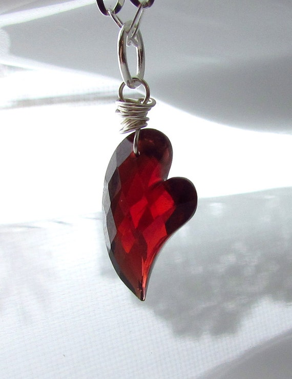 Pyrope Garnet Heart Pendant, Sterling Silver Wrapped Necklace, January Birthstone