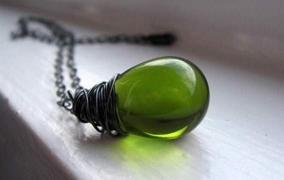 Olive Green Glass Teardrop Necklace, Czech Glass, Moss Green, Oxidized Sterling Silver, Wire Wrapped, Green Pendant, Simple, Everyday Wear
