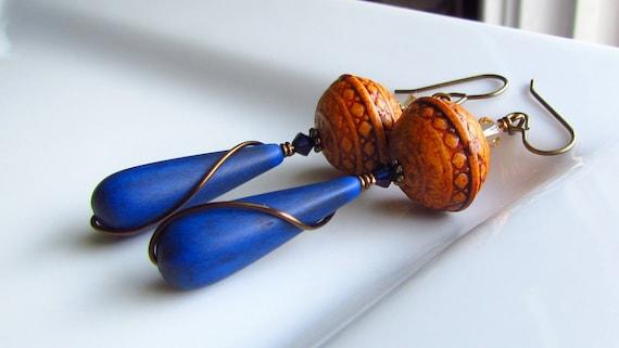 Denim Blue Vintage Bead Earrings, Drop, Dark Blue, Lucite Teardrops, Wire Wrapped, Antiqued Brass, Indigo Sahara