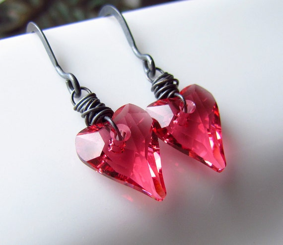 Pink Crystal Heart Earrings, Strawberry Pink Hearts, Swarovski Crystal, Valentine's Gift, Wire Wrapped, Oxidized Sterling Silver