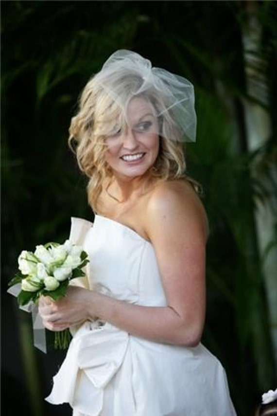Bridal Blusher Style Illusion tulle Birdcage Veil,  Ready to Ship, Style 1100