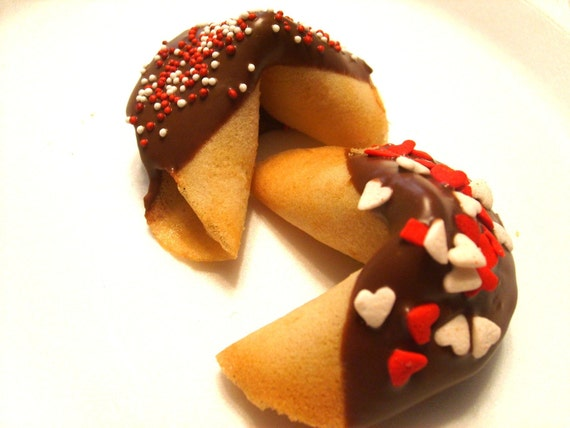 Custom Fortune cookies dipped in chocolate Valentine Gift