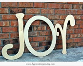 Unfinished JOY wooden letter cutouts measuring 24inches Any font available from fontyukle dot com