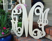 """Blended family wooden monogram 24"""" with four small letters and larger 24"""" last name  initial in the center FIRST EVER on ETSY"""
