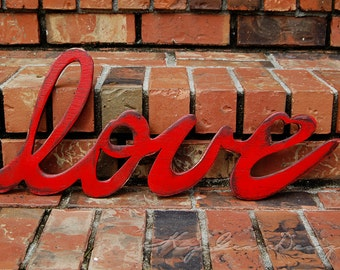 Free Shipping All we need is LoVe connected wood letters in my handwriting hand drawn and cut from start to finish
