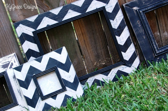 Chevron frame set 11x14 4x4 8x8 10x10 Custom painted to match your decor