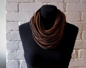 Recycled Strand Scarf - Dark Brown/Carmel