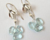 Aquamarine Earrings, Floral Earrings, Silver Earrings, Flower Petal Earrings, Blue Earrings, Flower Earrings - Derbyshire Blossoms