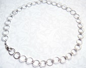 Silver Necklace, Chain Necklace, Circle Chain Necklace, Hammered Chain Necklace - Friendship Circle Necklace