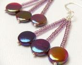 Purple Blue Orange Green Colorful Metallic Dangle Earrings - Berry Pop
