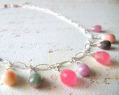 Cotton Candy Jade and Sterling Silver Necklace
