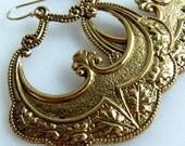 Art Deco Hoop Earrings, Vintage Inspired Brass