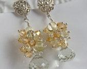 "Yellow Citrine Earrings, Green Amethyst Earrings, Semi-precious Gemstone Earrings - ""Morning Dew Drop"""