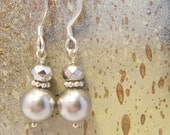 Silver Pearl, Crystal, and Sterling Silver Dangle Earrings - Present Moment