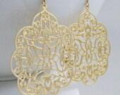 Gold Earrings, Filigree Earrings, Gold Filigree Earrings, Large Gold Earrings -  Angelic Scalloped Filigree