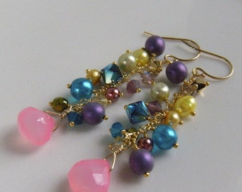Pink Chalcedony Earrings, Candy Colored Earrings, Fairy Tale Earrings, Fun Bridal Party Earrings - Alice in Wonderland Cascade Earrings
