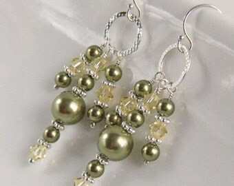Chandelier Earrings, Green Pearl Earrings, Green Pearl and Crystal Chandelier Earrings, Silver and Green Earrings - Pagoda