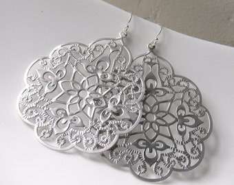 Large Matte Silver Plated Filigree Earrings, floral - Angelic Scalloped