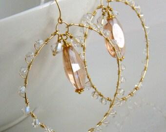 Large Hoop Earrings, Gold Hoop Earrings, Crystal Hoop Earrings, Pink Hoop Earrings, Boho Hoop Earrings - Glamour Girl Hoop Earrings
