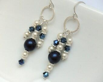 Navy Blue Earrings, Chandelier Earrings, Navy and Cream, Cream Pearl Earrings, Bridal Party Earrings, Bridal Party Jewelry - Pagoda