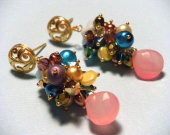 Unicorn Earrings, Cluster Earrings, Gold Earrings, Rainbow Earrings - Unicorn Cluster Earrings
