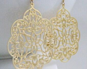 Gold Earrings, Filigree Earrings, Gold Filigree Earrings, Large Gold Earrings, Boho Earrings -  Angelic Scalloped Filigree