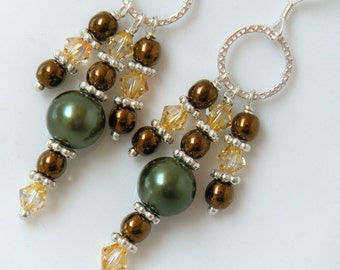 Chandelier Earrings, Green Earrings, Copper and Green Dangle Earrings, Autumn Colors, Glass Pearl Earrings - Irish Whiskey, Pagoda
