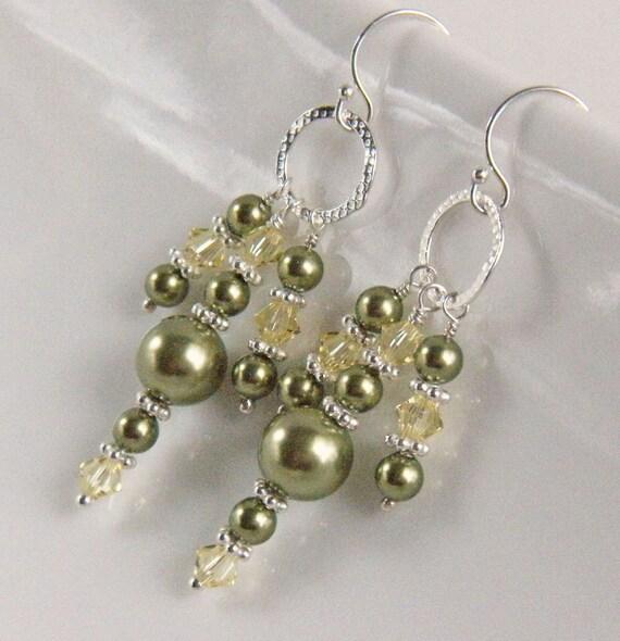 Chandelier Earrings, Green Pearl Earrings, Green Pearl and Crystal Chandelier Earrings, Silver and Green Earrings - Pagoda