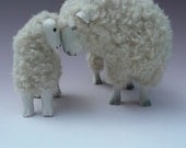 English Dorset Sculpture Deep In Thought With Lamb, Porcelain and Wool