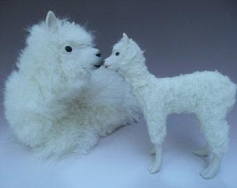 Handmade Porcelain Alpaca Figurine  with Cria