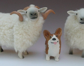 Handcarve Porcelain Figures, Pembroke Corgi with Two Welsh Mountain Sheep